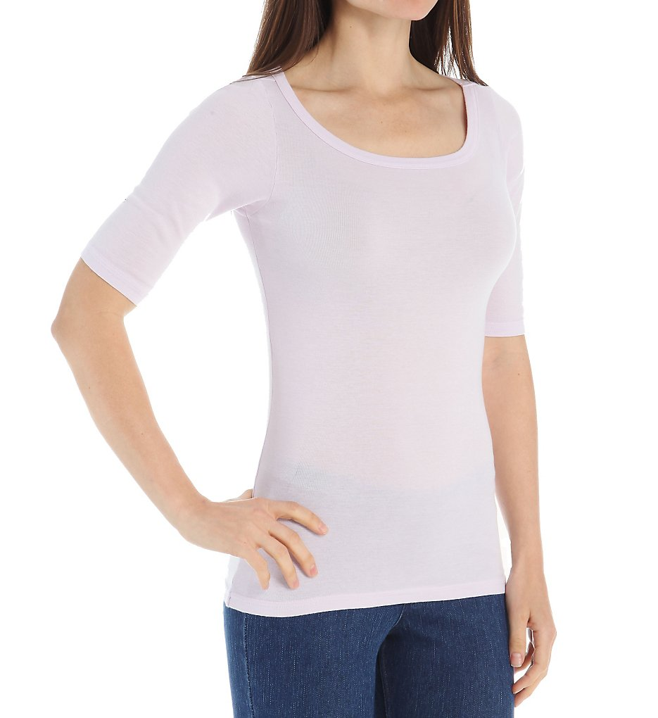 Michael stars 8779 wide scoop neck elbow sleeve supima tee for Michael stars t shirts on sale