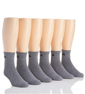 Adidas Extended Size Athletic Quarter Socks - 6 Pack