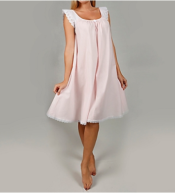 Amanda Rich Short Sleeve with Lace Trim Cotton Gown