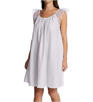 Amanda Rich Short Sleeve with Lace Trim Cotton Gown