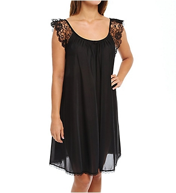 Amanda Rich Lace Cap Sleeve Knee Length Nightgown