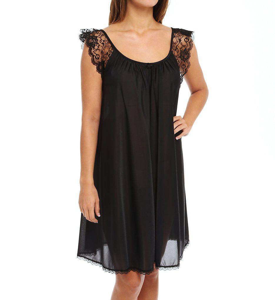 Amanda Rich Lace Cap Sleeve Knee Length Nightgown