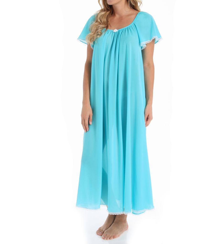Amanda Rich Short Sleeve Ankle Length Nightgown