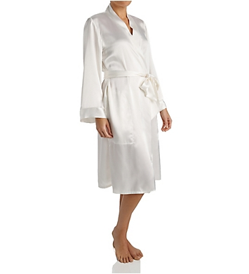 Amanda Rich Satin Knee Length Wrap Robe