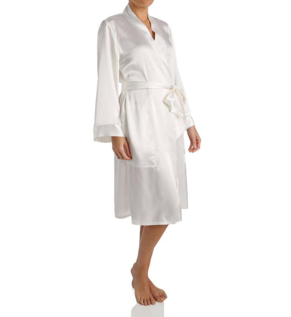 Amanda Rich Satin Knee Length Wrap Robe