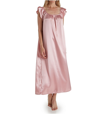 Amanda Rich Satin Long Gown with Flutter Sleeve