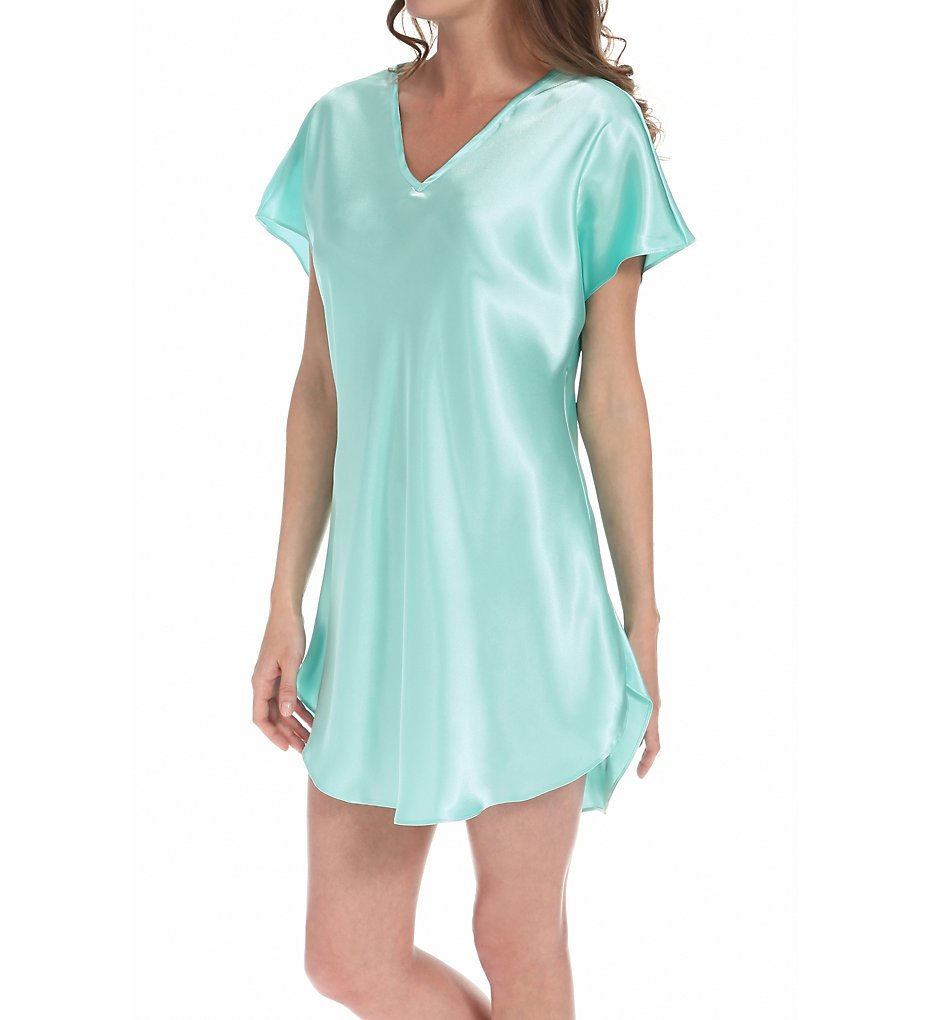 Amanda Rich 412-40 Bias Cut Satin T-shirt Gown 2x Aqua | eBay
