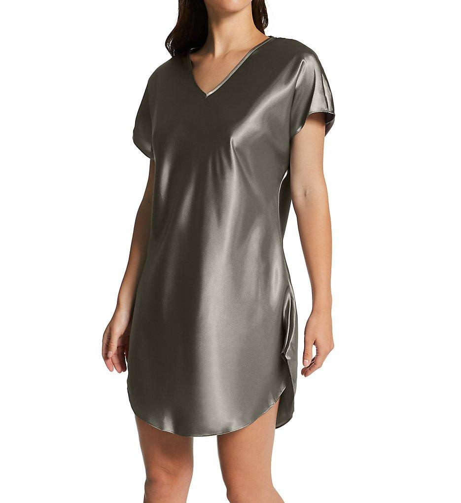 Amanda Rich 412-40 Bias Cut Satin T-shirt Gown XL Charcoal | eBay