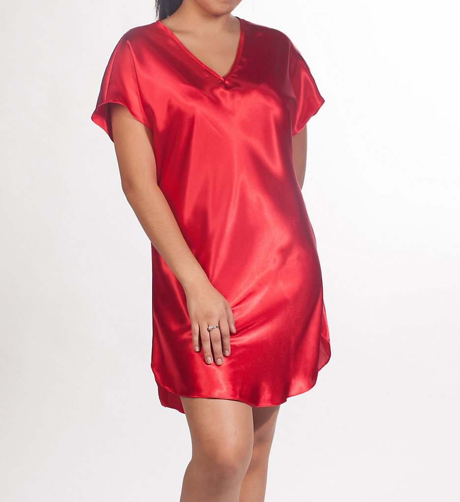 Amanda Rich 412-40 Bias Cut Satin T-shirt Gown 2x Red | eBay