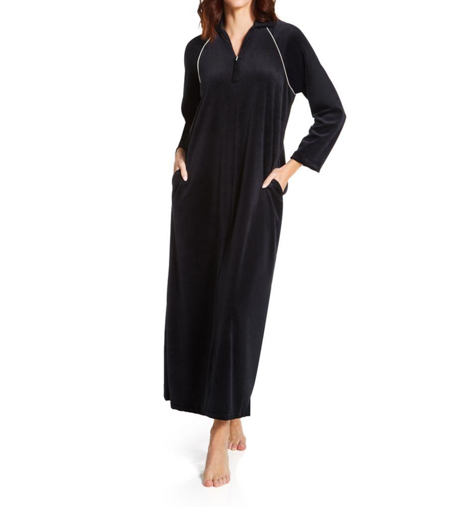 Amanda Rich Velour Zip Front Robe
