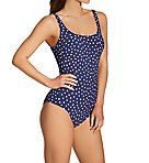 Blue Dots Marle Underwire One Piece Swimsuit