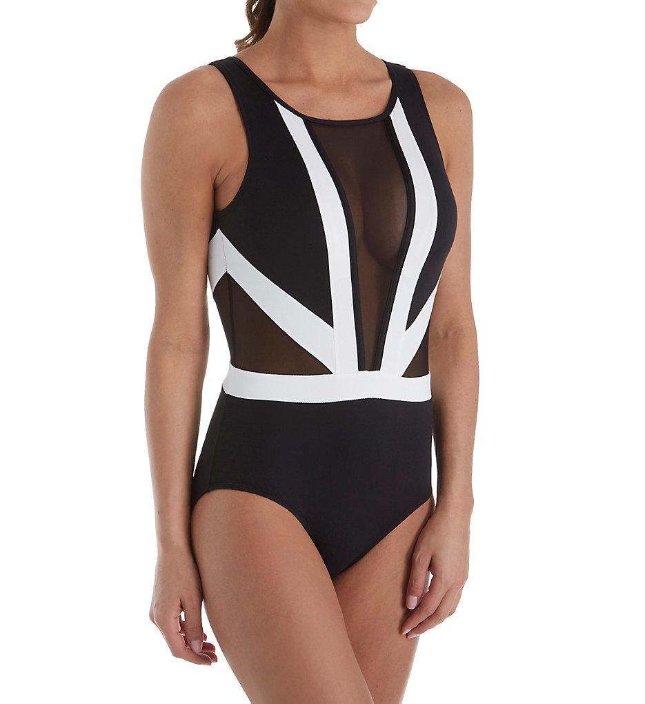 b014c0ebf0 Anne Cole Hot Mesh Colorblock Plunge One Piece Swimsuit 18Mo079 ...