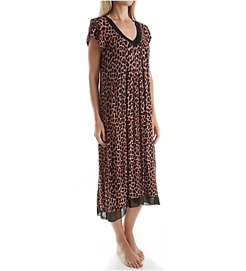 Anne Klein Holiday Highlight Short Sleeve Gown with Shelf Bra