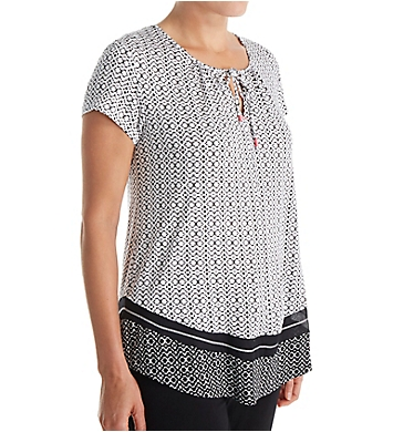Anne Klein Black Geo Short Sleeve Top