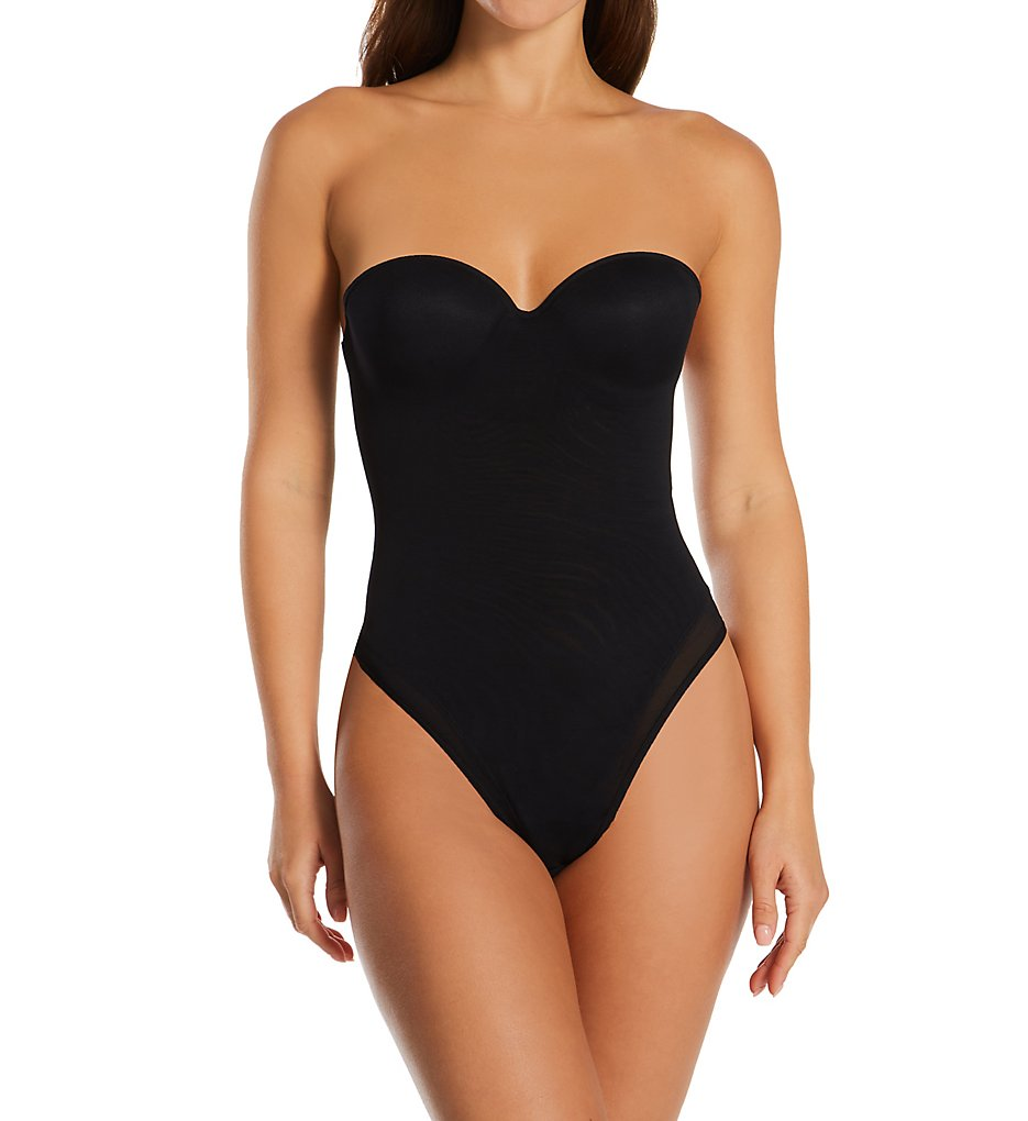 Annette >> Annette 10496 Convertible Strapless Bodysuit with Thong Back (Black 32B)