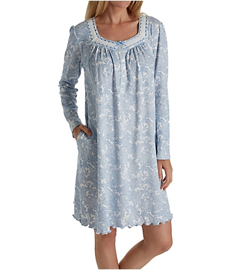 Aria Blue Serenity Long Sleeve Short Nightgown