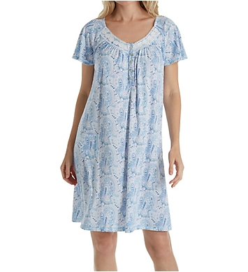 Aria Blue Charm Short Sleeve Short Nightgown