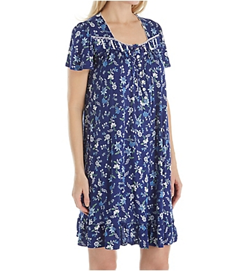 Aria Blue Print Short Sleeve Short Nightgown