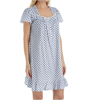 Aria Blue Print Cotton Short Sleeve Short Nightgown