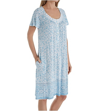 Aria Blue Afternoon Short Sleeve Short Nightgown