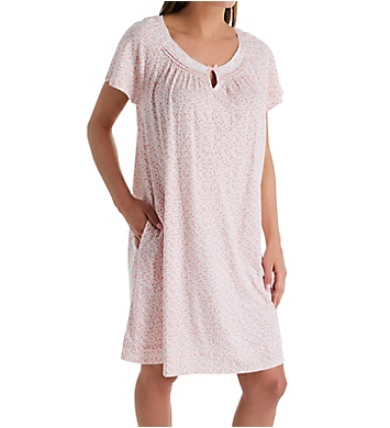 Aria Daisy Pink Cotton Jersey Short Sleeve Short Gown