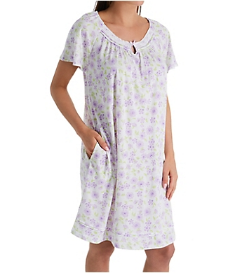 Aria Daisy Purple Cotton Jersey Short Sleeve Short Gown