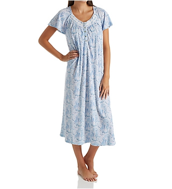 Aria Blue Charm Short Sleeve Ballet Long Nightgown