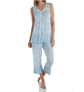 Aria Blue Afternoon Sleeveless Capri PJ Set