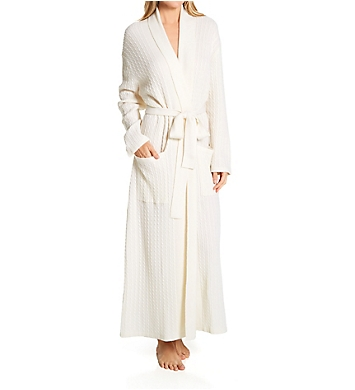 Arlotta Cashmere Long Baby Cable Texture Wrap Robe
