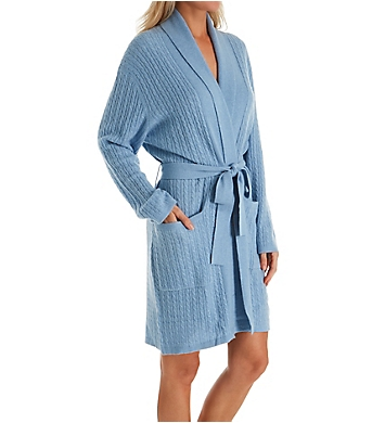Arlotta Cashmere Short Baby Cable Texture Wrap Robe
