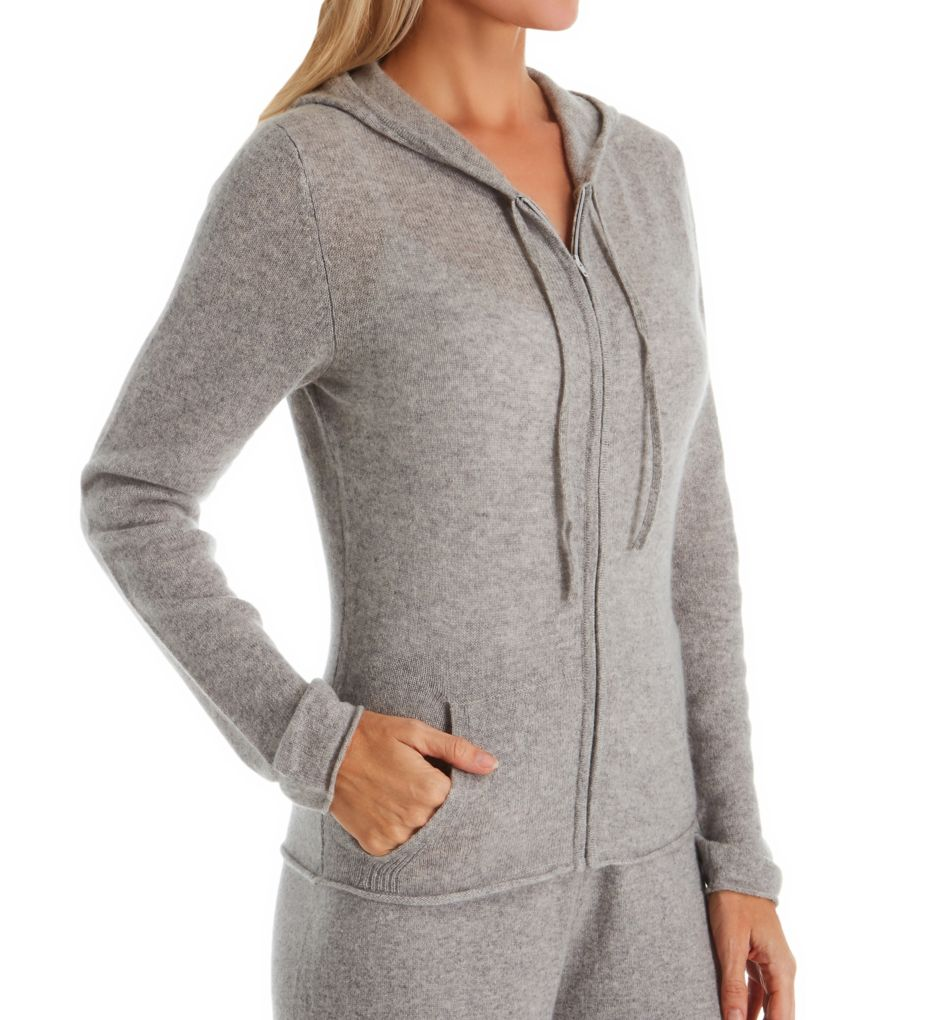 Arlotta Cashmere Classic Front Zipper Jacket With Hoodie
