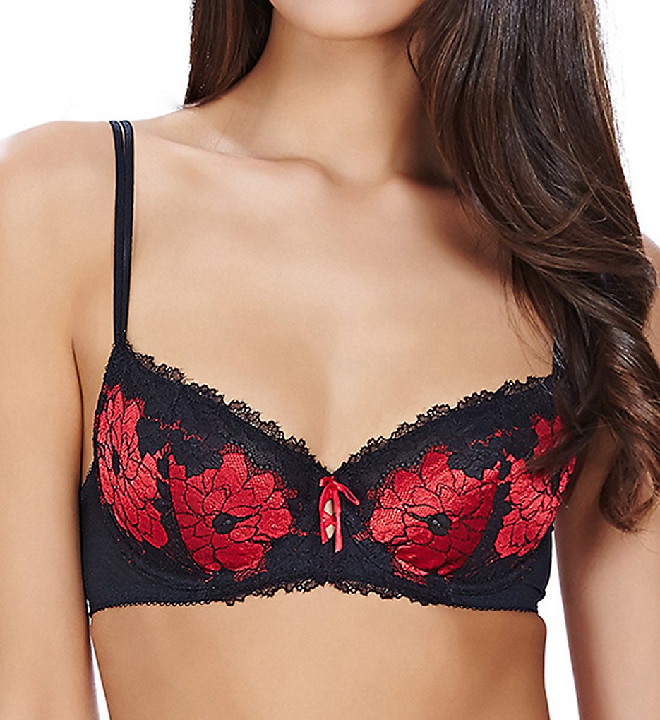 b.tempt'd by Wacoal - b.tempt'd by Wacoal 951235 b.sumptuous Demi Underwire Bra (Night/Tango Red 32C)