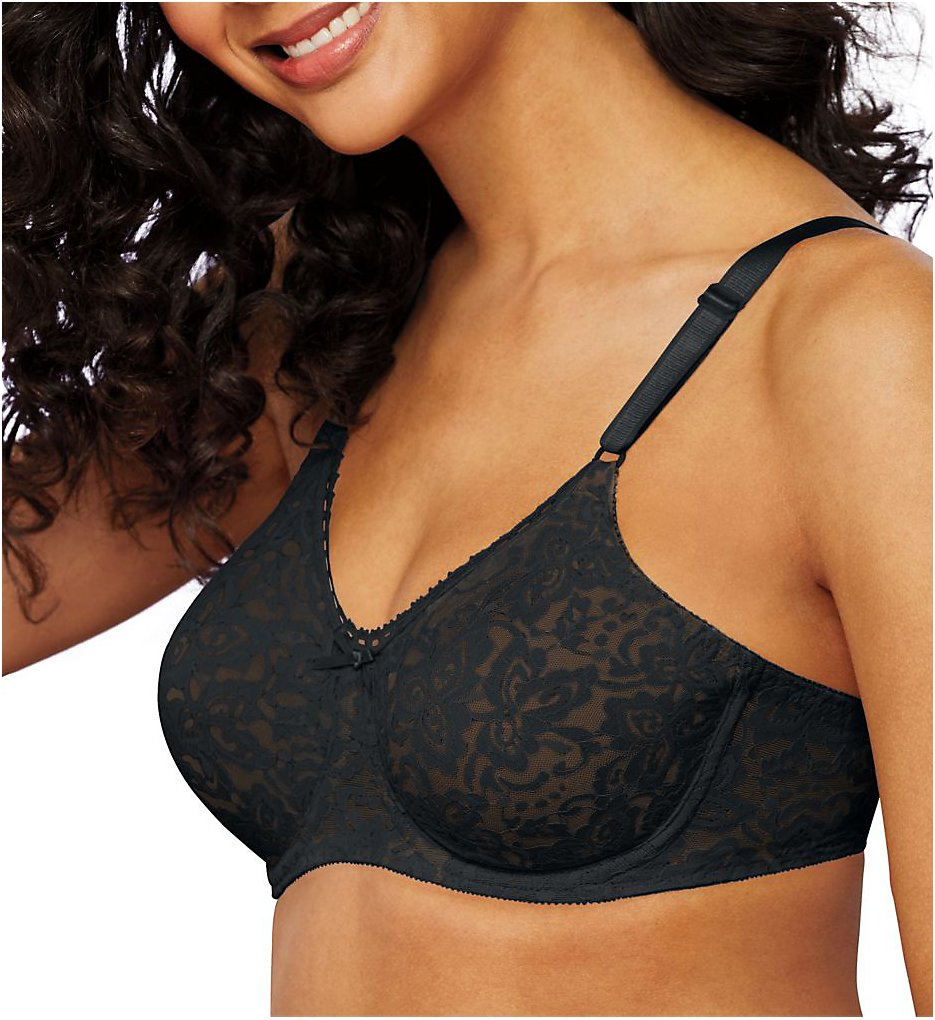 Bali 3432 Lace 'N Smooth Seamless Cup Underwire Bra (Black)