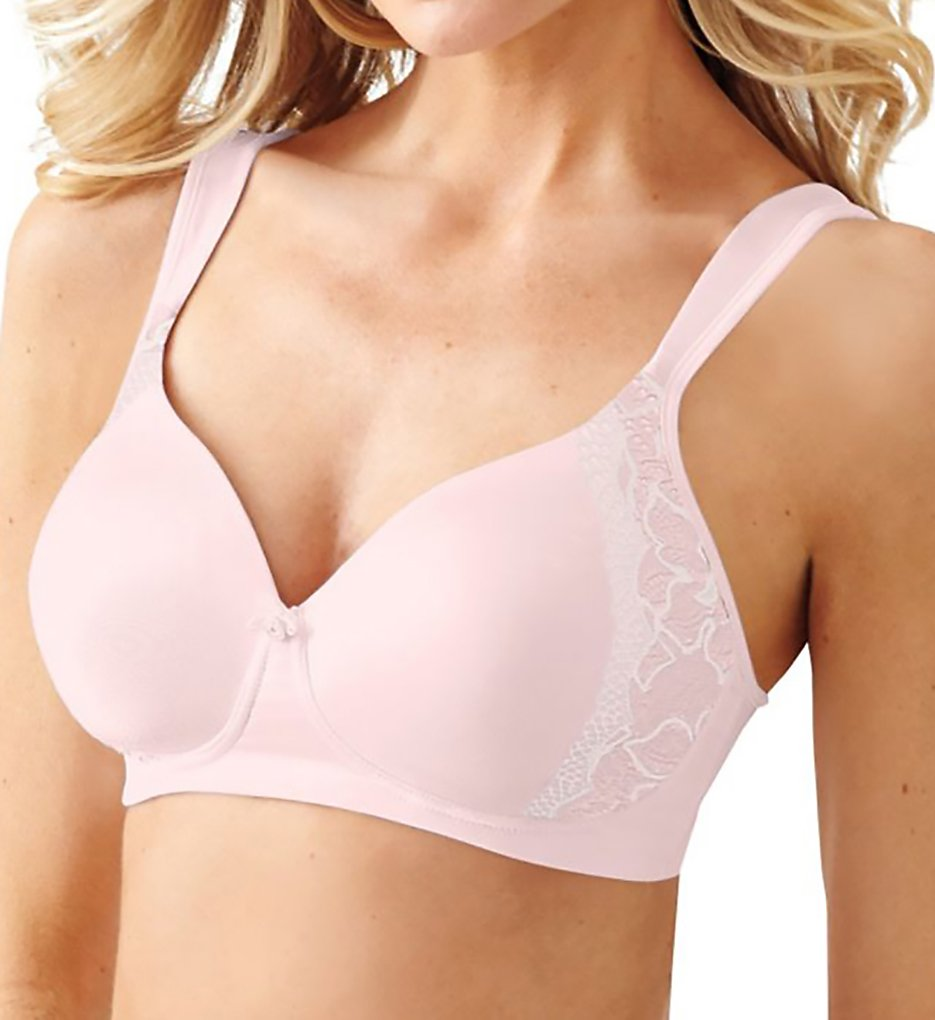 Bali >> Bali 6546 One Smooth U Lace Wirefree Bra (Pale Pink/Ivory Canvas 38DD)