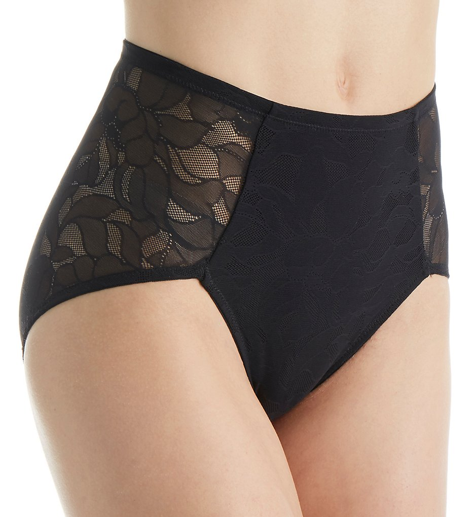 Bali - Bali 6554 Ultra Light Tummy Slimmer Hi-Cut Brief Panty (Black L)