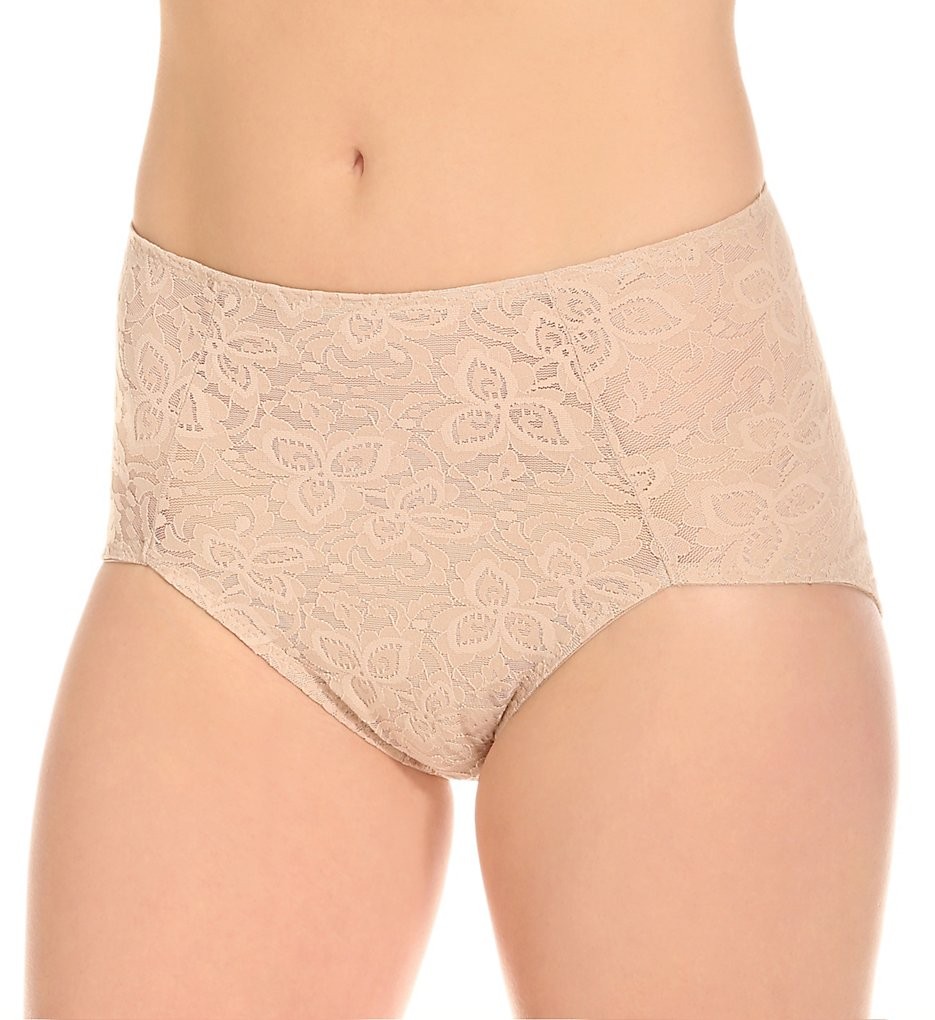Bali : Bali 8L14 Lace 'N' Smooth Shaping Brief Panty (Nude L)