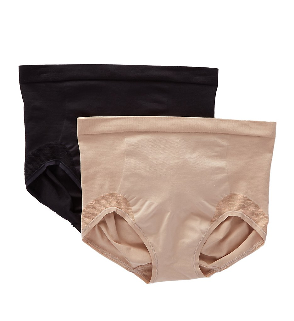 Bali : Bali DF0048 Comfort Revolution Shaping Brief Panty - 2 Pack (Nude/Black M)