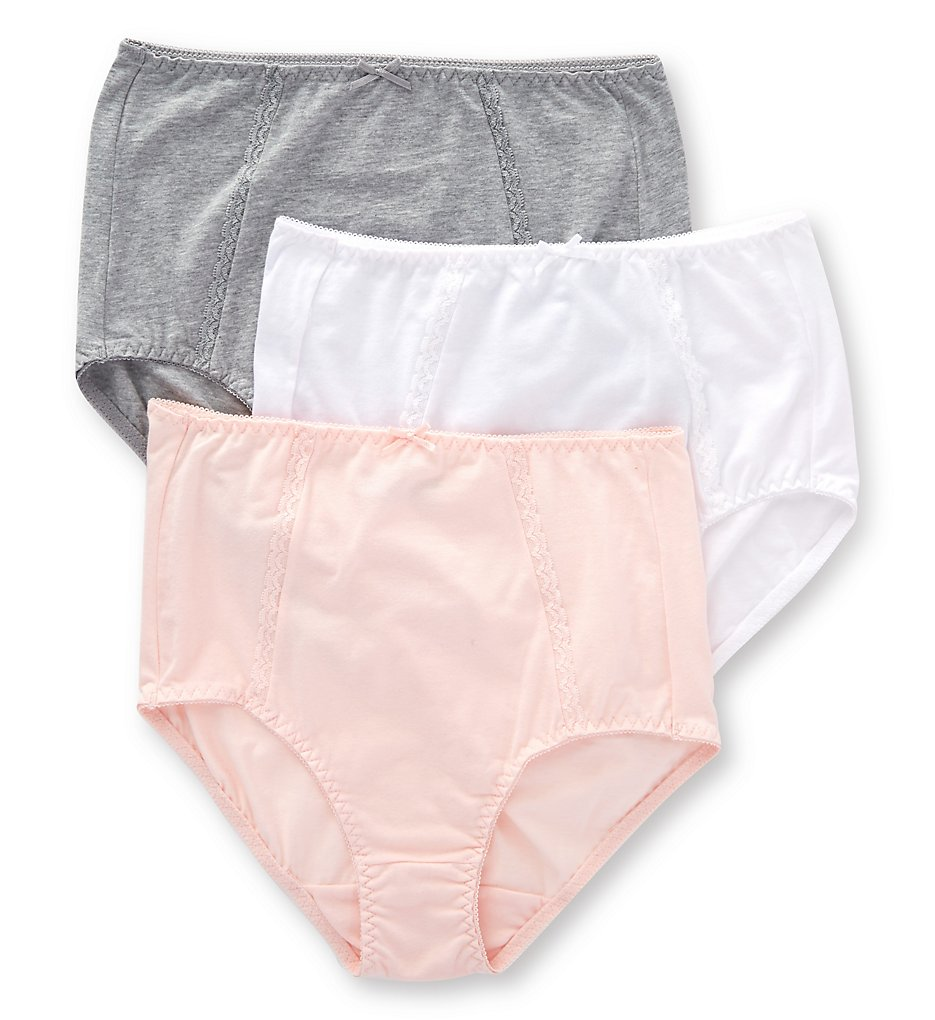 Bali - Bali DFDCB3 Double Support Cotton Brief Panty - 3 Pack (Wht/Hthrgry/Blshingpnk 6)