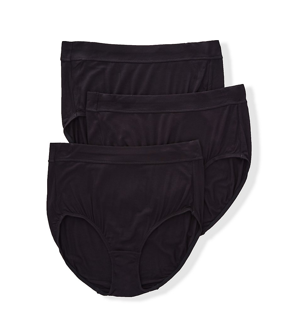 Bali - Bali DFSBF3 Comfort Incredibly Soft Brief Panty - 3 Pack (Black 6)