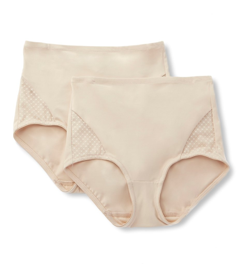 Bali : Bali DFX008 Passion for Comfort Shaping Brief Panty - 2 Pack (Soft Taupe M)