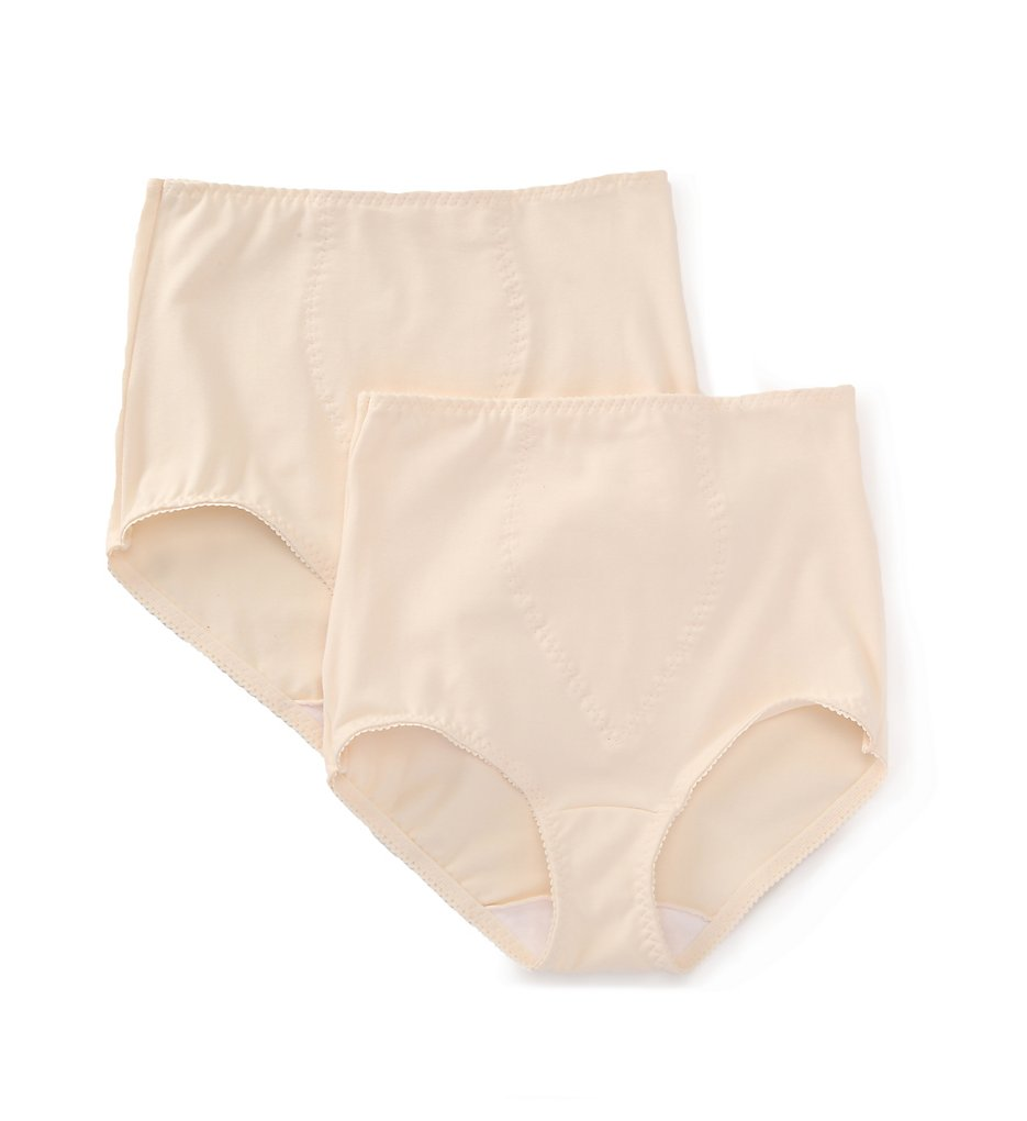 Bali : Bali X037 Light Control Stretch Cotton Brief Panty - 2 Pack (Porcelain/Porcelain M)