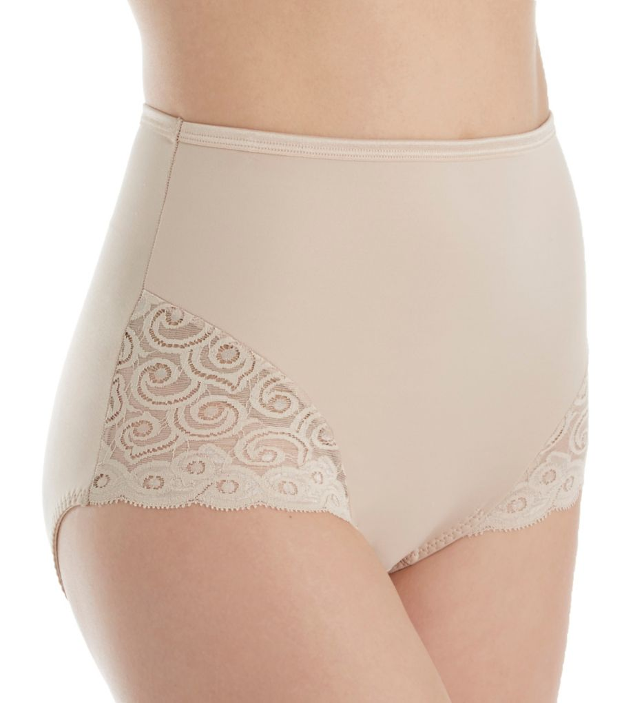 Bali Firm Control Lace Inset Microfiber Brief - 2 Pack