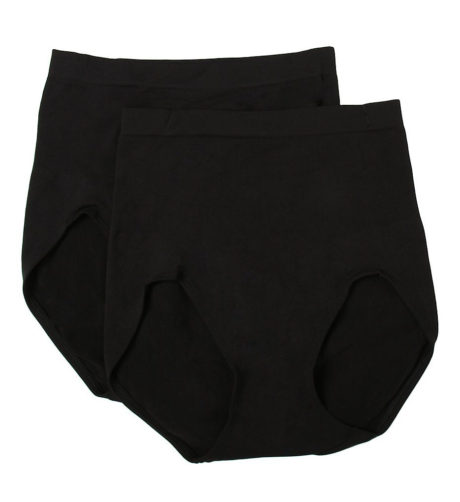 Bali : Bali X204 Seamless Firm Control Brief Panty - 2 Pack (Black L)