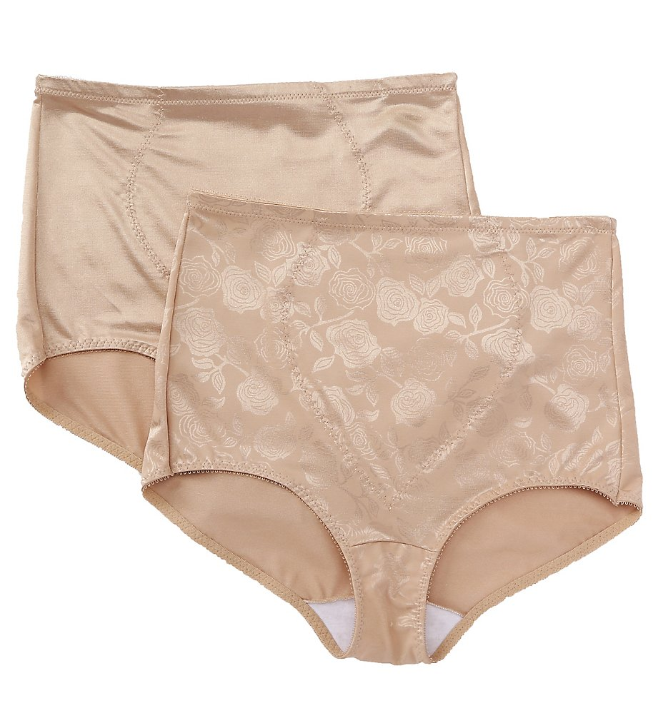 Bali - Bali X710 Jacquard Tummy Panel Shaping Brief Panty - 2 Pack (Nude/Nude Deluster M)