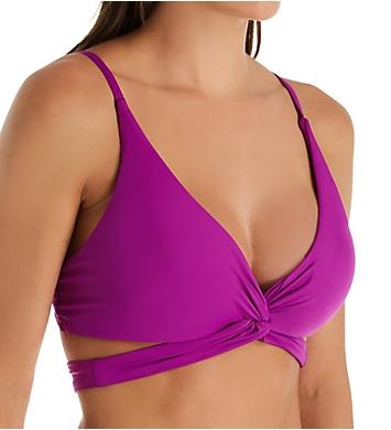 Becca Color Code Plunge Wrap Halter Bikini Swim Top