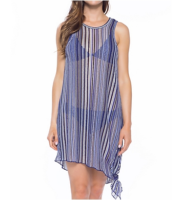 Becca Pierside Stripe Crochet High Neck Dress Cover Up