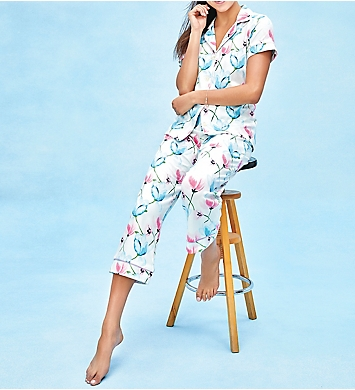 BedHead Pajamas Poppy Fields Short Sleeve Cropped Pant PJ Set