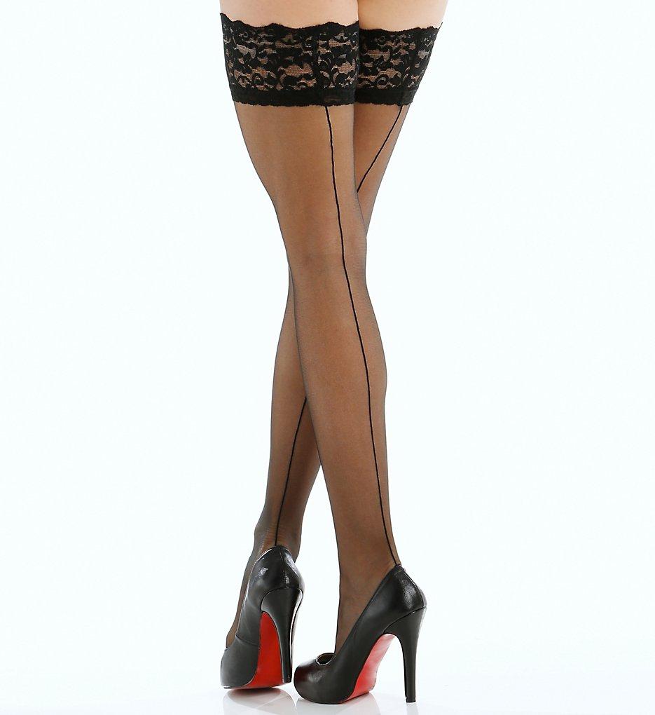 Seamed Stockings, Nylons, Tights Berkshire 1325 Back Seam Thigh High Black Q2 $9.00 AT vintagedancer.com