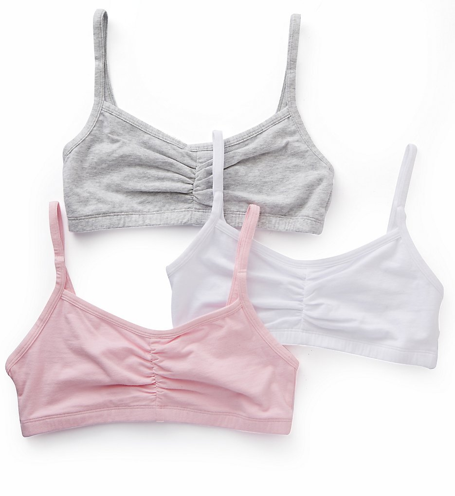 Bestform - Bestform 5006548 Strappy Shirred Front Bra - 3 Pack (Pink/Grey/White 32)