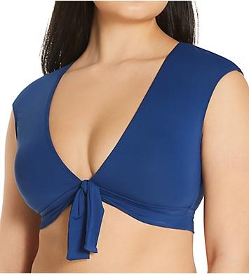 Bleu Rod Beattie Kore Tie Front Cap Sleeve Crop Swim Top